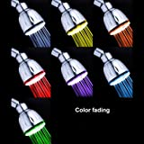 Ambox LED Shower Head, All Chrome Water Pressure Controlled 7 Color Changing LED ShowerHead for Bathroom, Color of LED Lights Changes Automatically According to Water Pressure, No Battery Needed