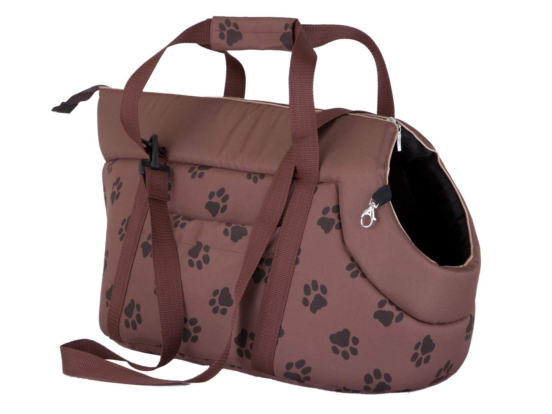 Hobbydog Borsa da Trasporto per Cani e Gatti Marrone Chiaro con Zampe Stampa Colore Taglia 2
