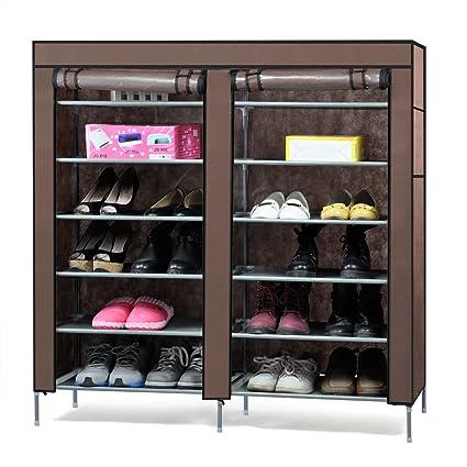 Amazon Easyfashion 6 Tier 2 Rows Doors Shoe Cabinet Rack Large