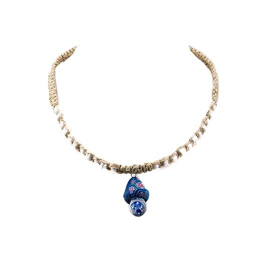 Amazon blue fimo glass mushroom pendant on hemp choker blue fimo glass mushroom pendant on hemp choker necklace with puka clam shell beads aloadofball Images