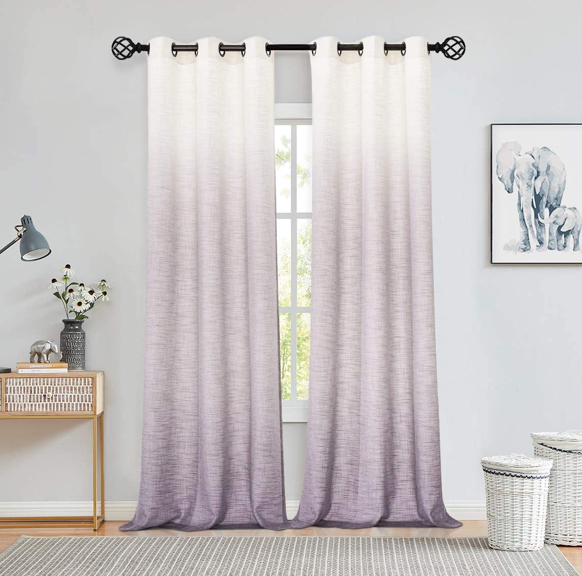 "Central Park Ombre Window Curtain Panel Linen Gradient Print on Rayon Blend Fabric Drapery Treatments for Living Room/Bedroom, Cream White to Lavender Purple, 40"" x 84"", Set of 2"