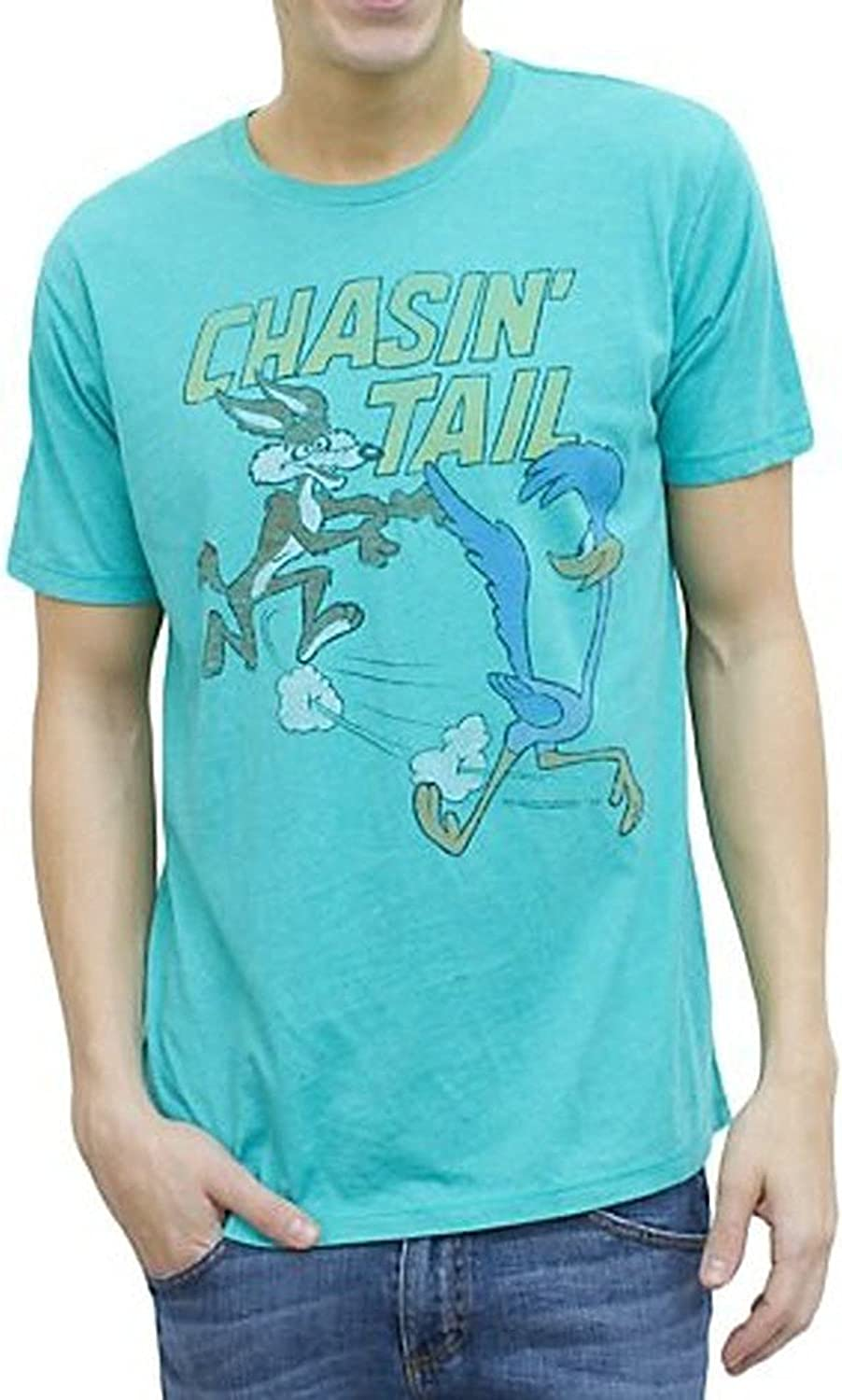 Junk Food Looney Tunes Vintage Inspired Chasin' Tail Adult Lagoon Blue T-shirt (Adult Large)
