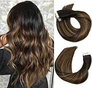 Tape In Hair Extensions 20pcs/50g Per Set #1BT6P1B Natural Black to Chestnut Brown Highlight Black Piano Color Double Sided Tape Skin Weft Remy Silk Straight Hair Glue in Extensions Human Hair 22 Inch