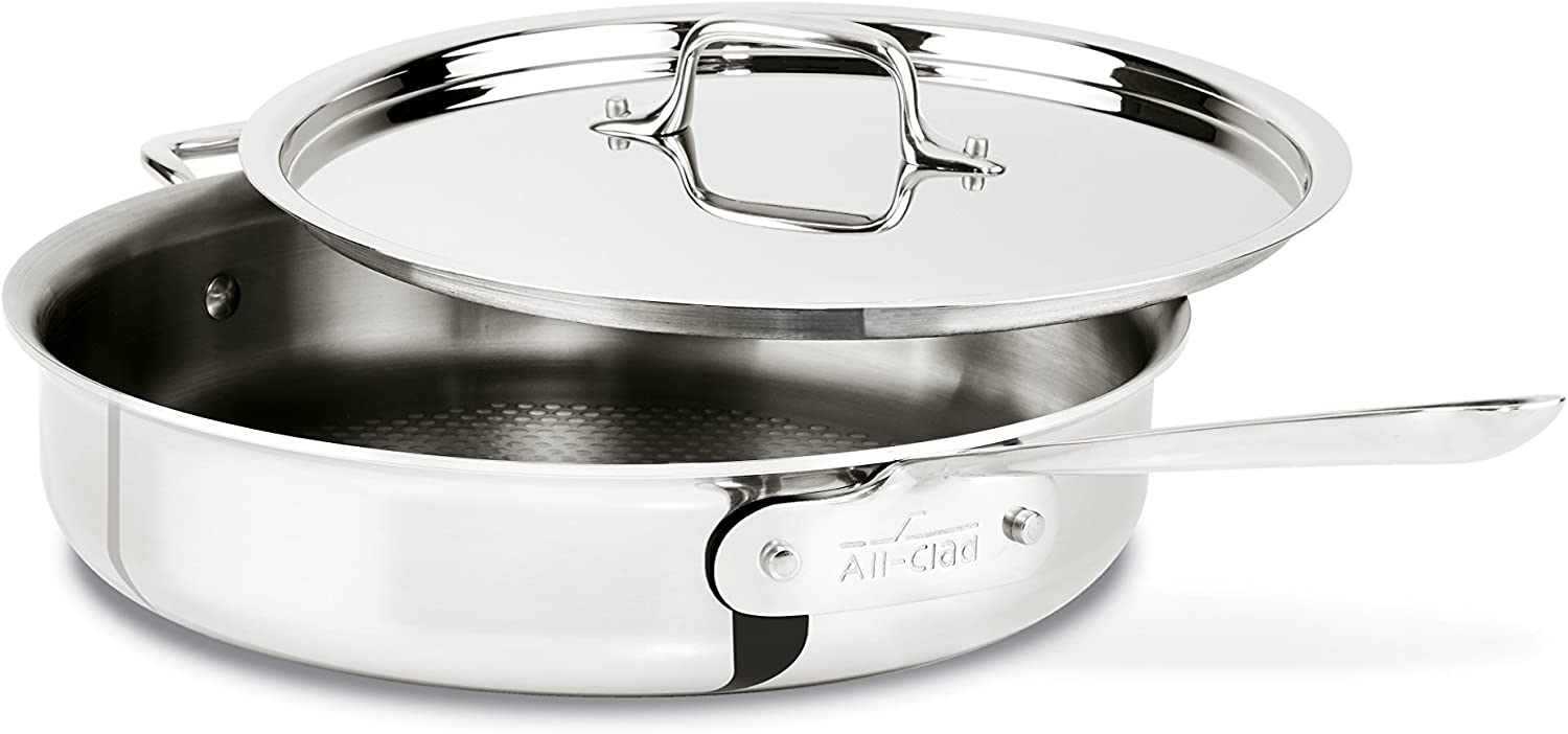 All-Clad 4403B D3 ARMOR Stainless Steel Tri-Ply Bonded Dishwasher Safe Sauté Pan Cookware, 3-Quart, Silver