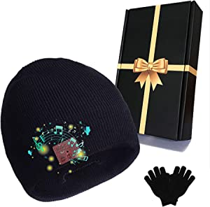Bluetooth Beanie Hat and Gloves Set, Music Winter Knit Hat Wireless Bluetooth Cap Headphones +Touchscreen Glove Gift Pack Christmas Tech Gifts for for Men Women (Black)