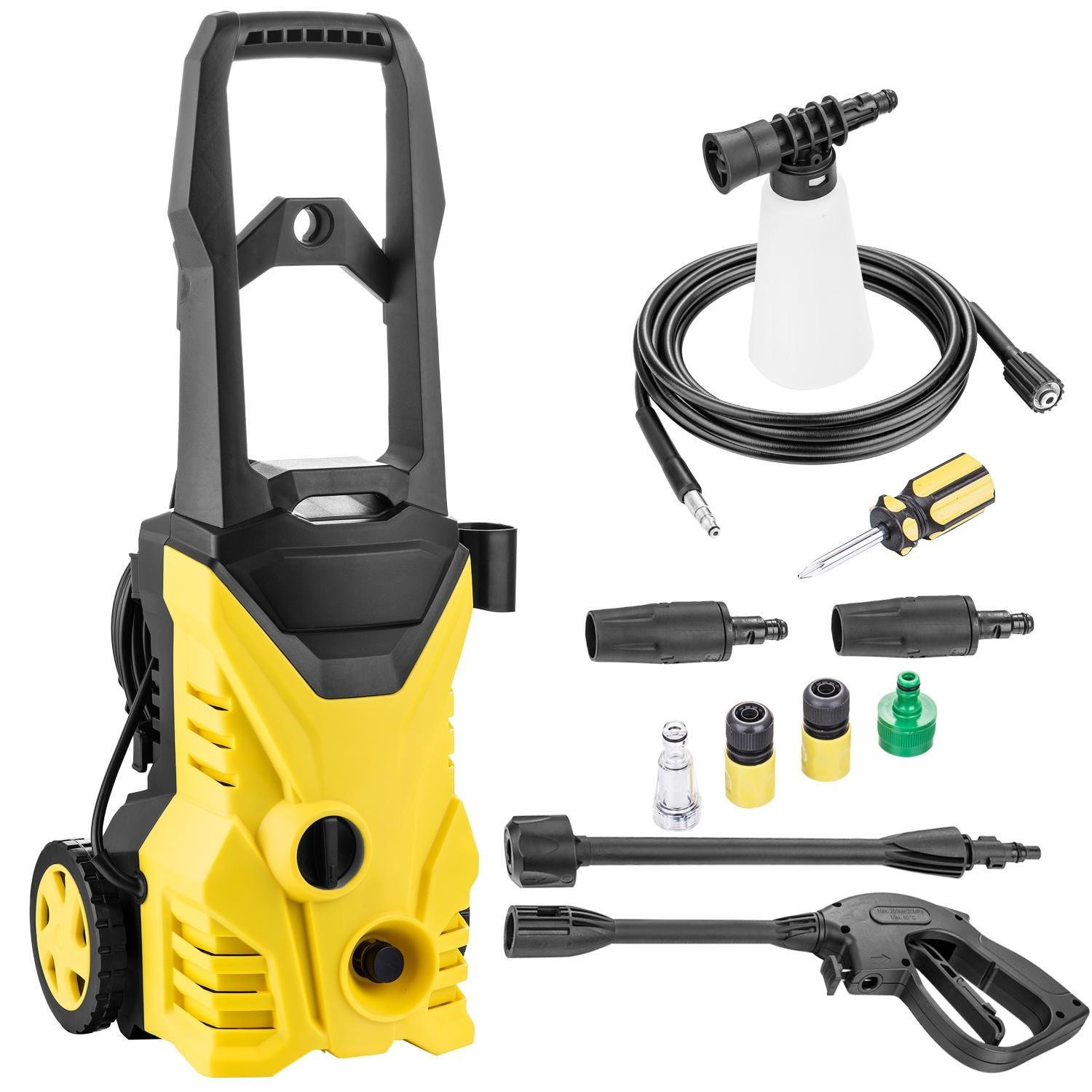Leoneva 1.4GPM 2000psi Electric Pressure Washer Patio, High Pressure Cleaner with 2 Spray Nozzle Adapter (Yellow)
