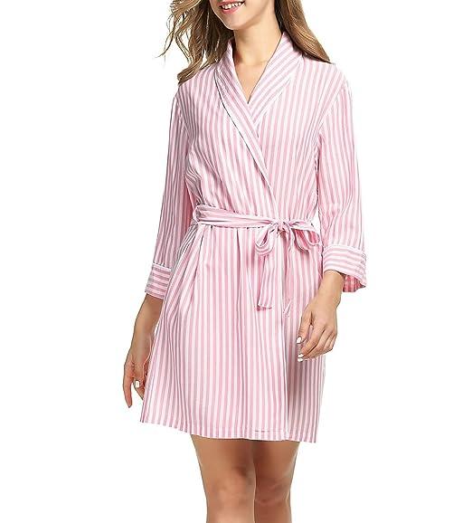 Spitze Kurzarm Schlafanzüge Lang Nachthemd Elegant Sommer Damen Viskose