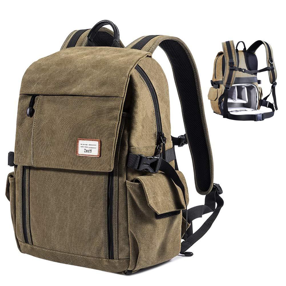 Zecti Camera Backpack Waterproof Canvas DSLR Camera Bag (New Version) For 1  DSLR 4xLens