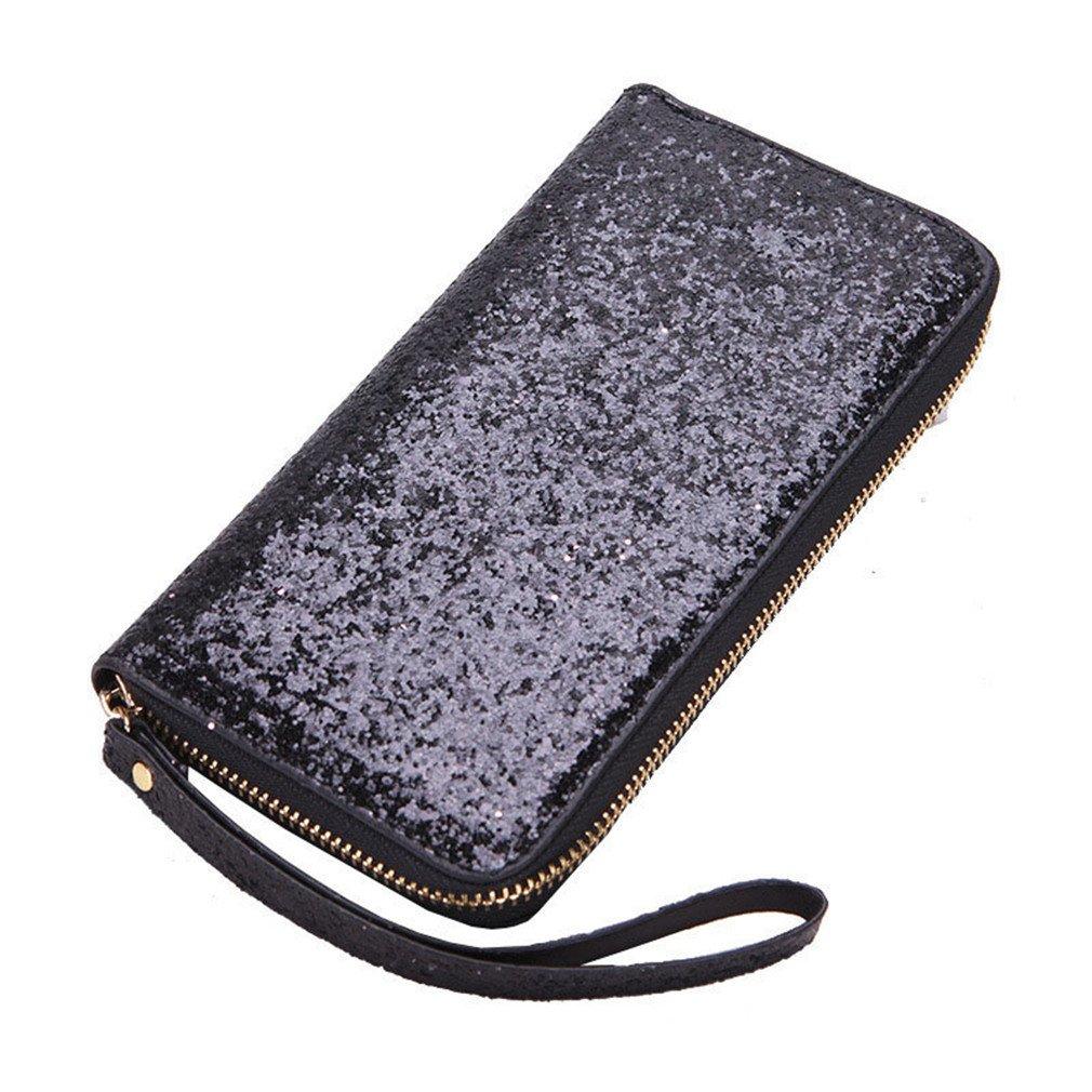 Yosohbag Women PU Leather Wallet Women Long Glitter Sequin Money Purse Credit Card Bags C Black