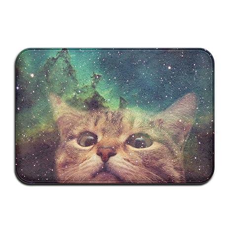 DIYABCD Espacio Galaxy Gato Felpudo Antideslizante para casa jardín Puerta Alfombra Felpudo Piso Almohadillas