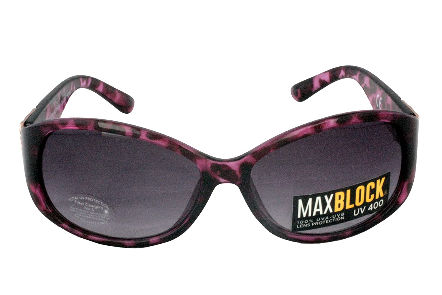 806926e880c Foster Grant FG20 Women's Rounded Rectangular Style Sunglasses Purple Black  Tortoise Shell Frame & Arms with Floral Metal Pattern Edged on Arms Black  ...