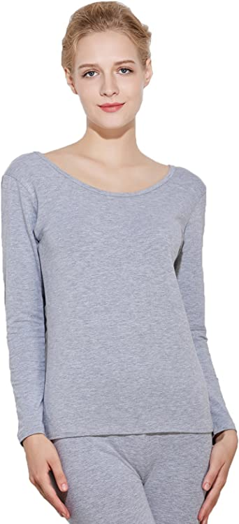 Liang Rou Camisa Interior térmica de Cuello Redondeado para Mujer