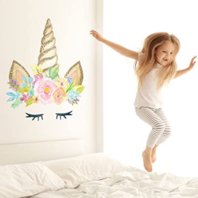 Unicorn Horn Wall Decal | Girl's Room décor | Wall Stickers (with Printed Glitter Effect, Large Size): Baby