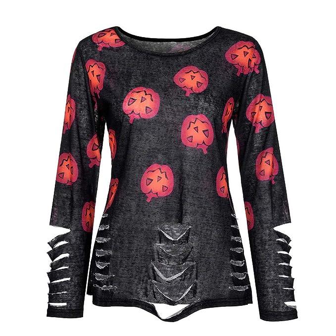 DEELIN La Moda De La Mujer De OtoñO De Manga Larga O-Cuello De Calabaza ImpresióN Rasgada Tops De Halloween Camiseta Negro: Amazon.es: Ropa y accesorios