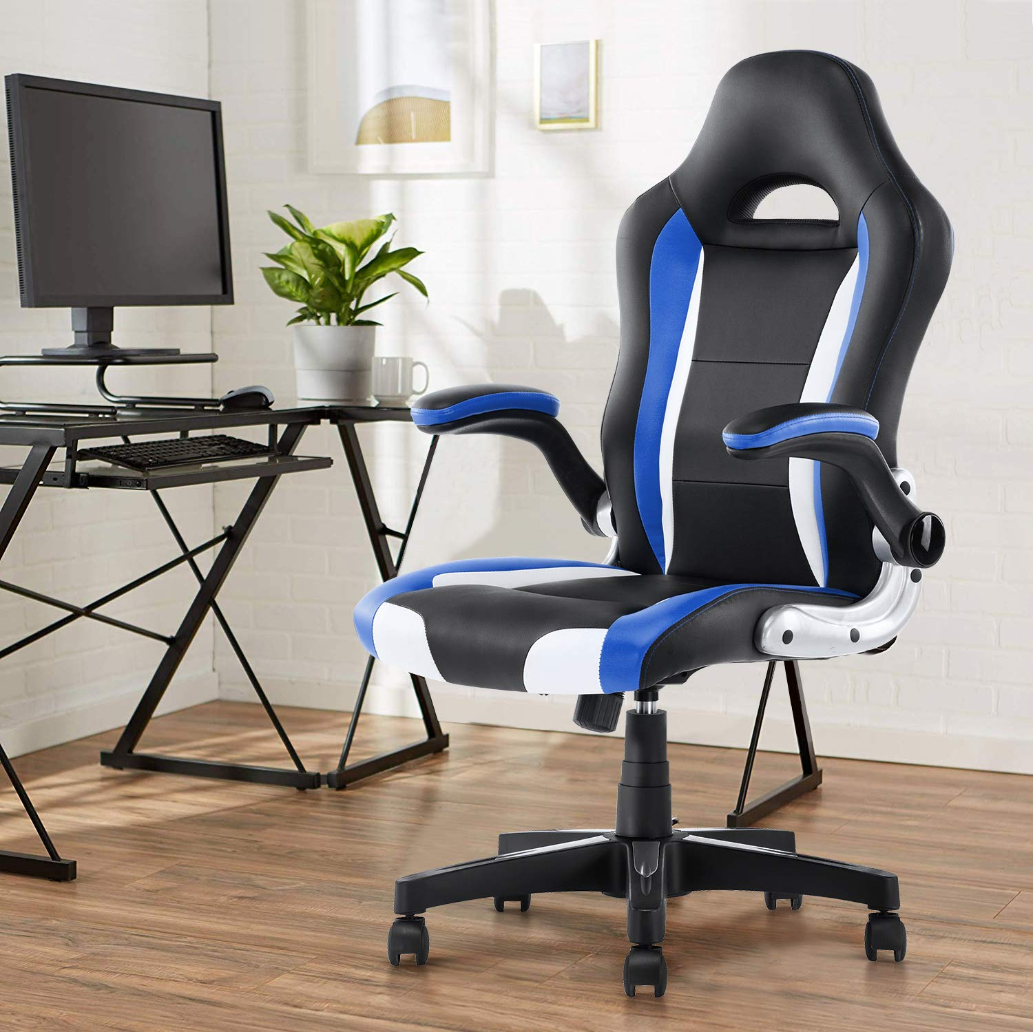 YAMASORO Ergonomic Executive Office Chair High Back White Leather Computer Chair Big Tall Office Desk Chair with arms and Wheels Swivel for Heavy People
