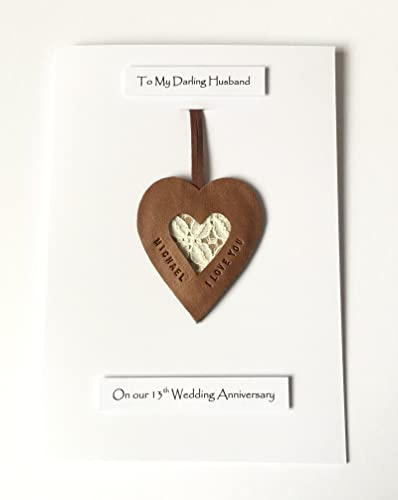 13th Wedding Anniversary Card Personalised Lace Leather Heart Gift