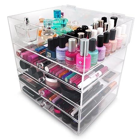 Cosmética de acrílico Sorbus 5-Grada y caja de almacenamiento - gran organizador de maquillaje para labios, fundaciones, polvos, Eye-Liners, esmaltes ...