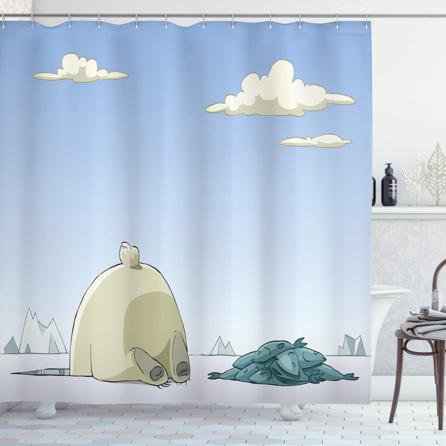Ambesonne Cartoon Shower Curtain by, Polar Bear Catches Fish in the Ice Hole Arctic Frozen Land Fun Animal Kids Design, Fabric Bathroom Decor Set with Hooks, 70 Inches, Blue Beige