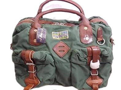 c070272f6c8c Polo Ralph Lauren Yosemite Nylon Messenger Commuter Bag Khaki Green Leather  trim PR1 (45 cms