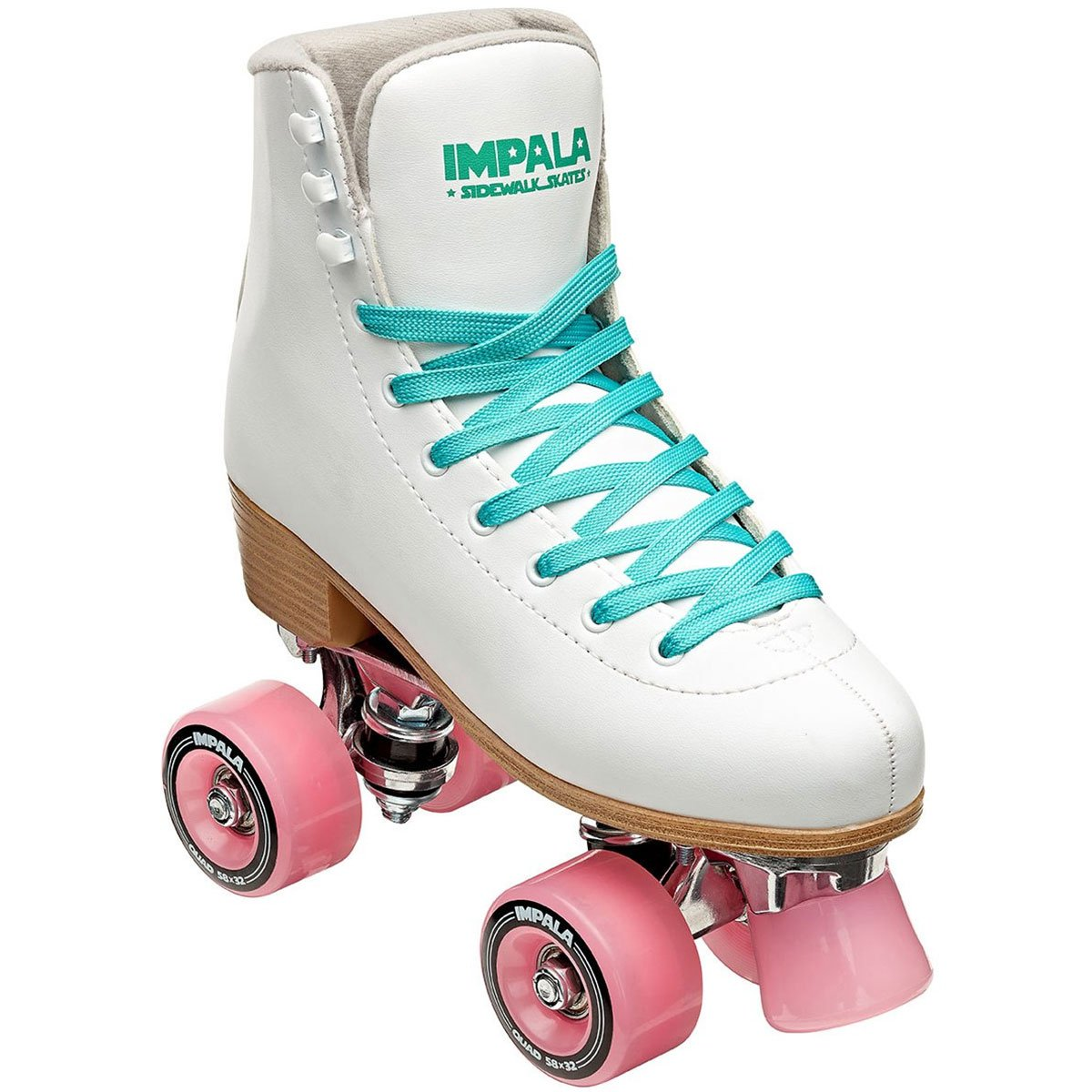 Impala RollerSkates Women's Lace-Up Rollerskates, White/Pink, 4