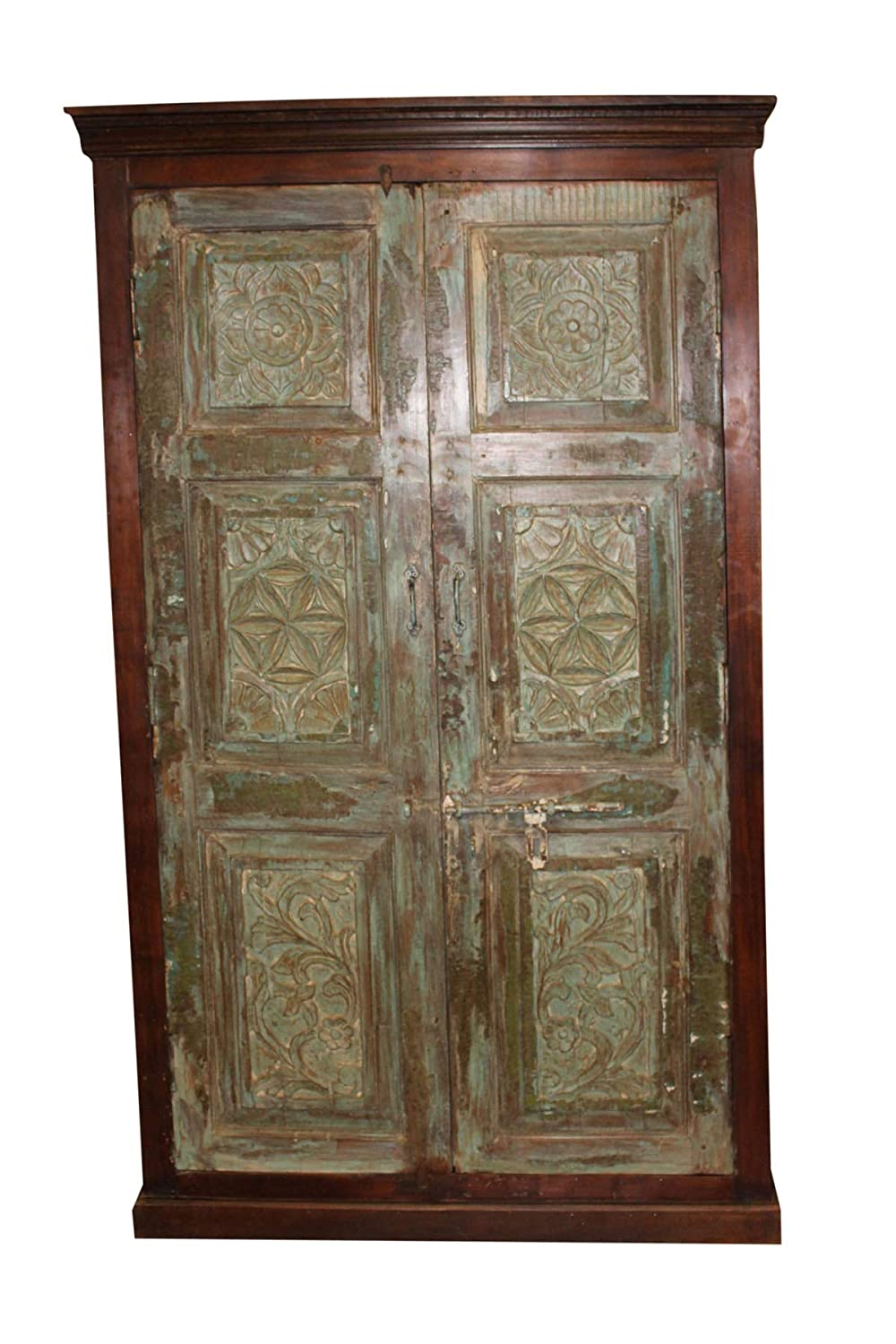 Amazon.com: Mogul Interior Indian Antique Cabinet Beautiful Hand Carving  Solid Wood Green Rustic Vintage Armoire Storage: Kitchen & Dining - Amazon.com: Mogul Interior Indian Antique Cabinet Beautiful Hand