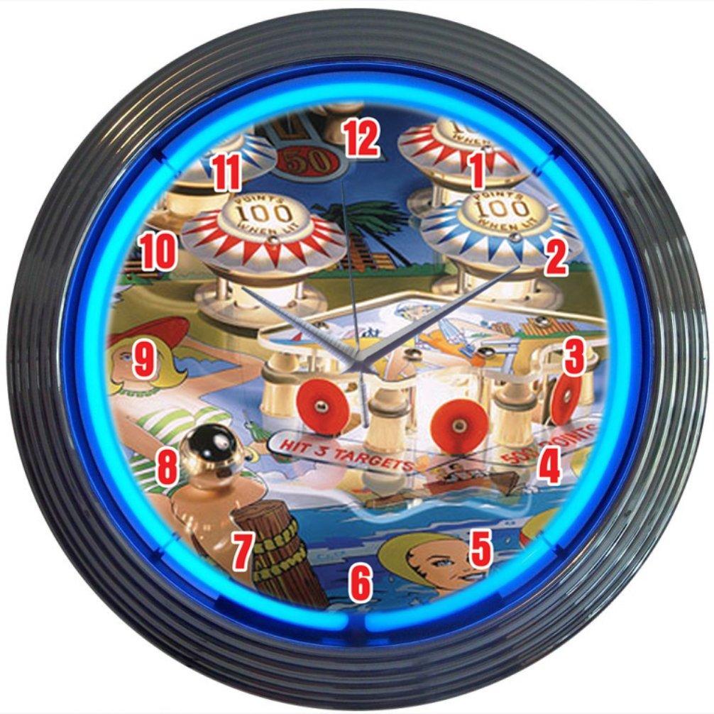 Neonetics Bar and Game Room Pinball Neon Wall Clock, 15-Inch