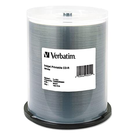 photo regarding Verbatim Cd R Printable identified as Verbatim CD-R 700MB 52X White Inkjet Printable Recordable Media Disc - 100pk Spindle