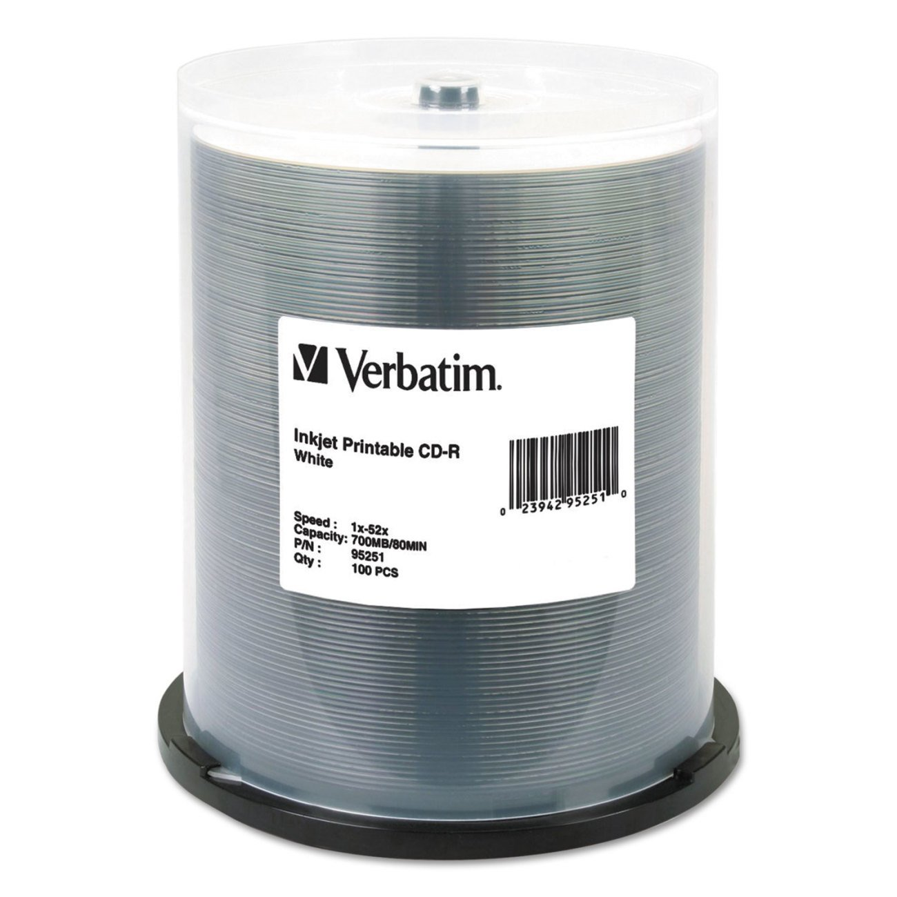Verbatim CD-R 700MB 52X White Inkjet Printable Recordable Media Disc - 100pk Spindle by Verbatim