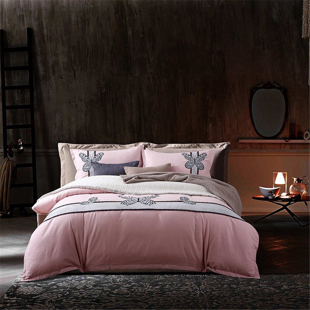 1500T Brushed Cotton In Special Embroidery Duvet Cover Set 4pcs Without Comforter Floral Styleextra queen^^^Dark Butterfly pink base