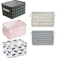 5 Pcs Foldable Storage Bin Basket,Foldable Fabric Storage Receive Basket with Handle Cotton Linen Blend Storage Bins for…