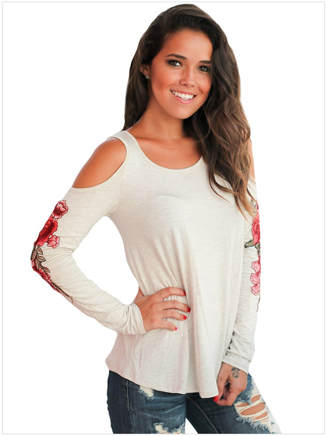 Sexy Long Sleeve Floral Embroidered Embroidery Cold Open Shoulder Blouse Shirt T-Shirt Top at Amazon Womens Clothing store: