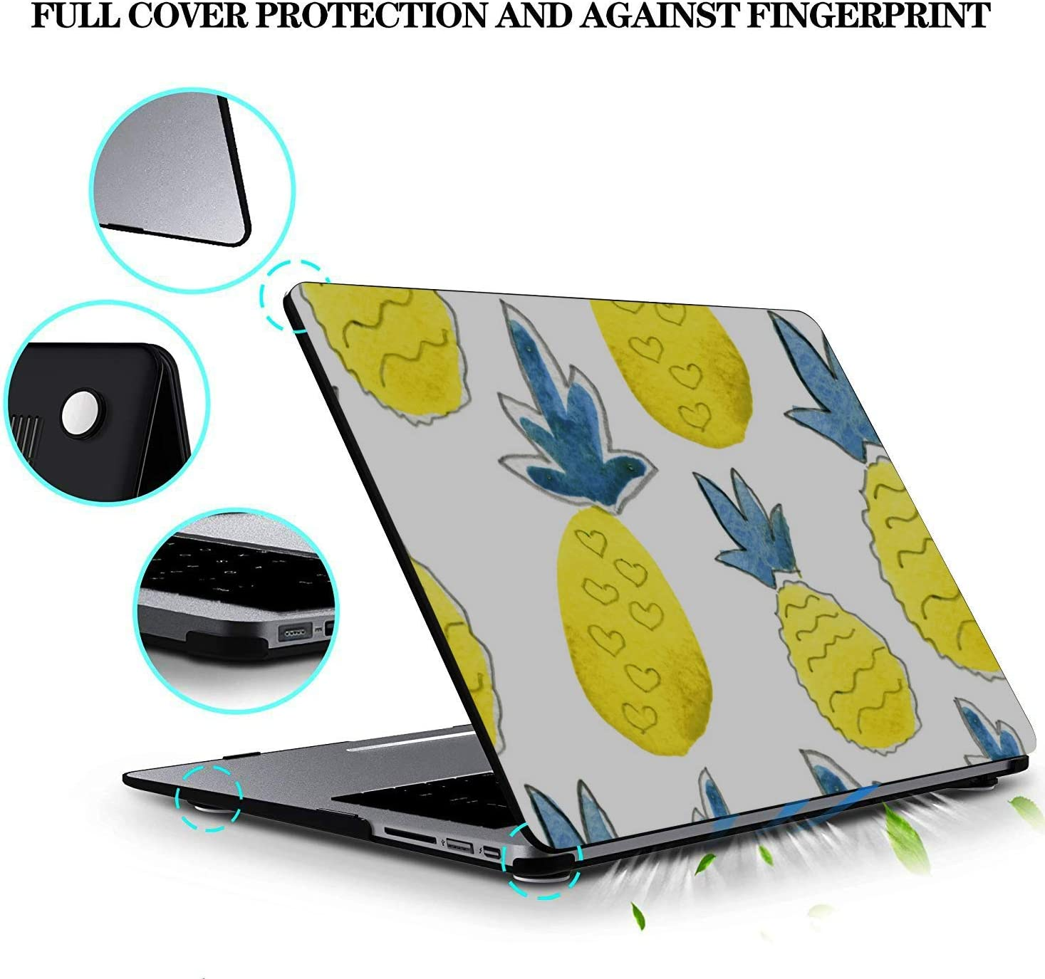MacBook Laptop Cover Summer Sweet Cute Fruit Pineapple Plastic Hard Shell Compatible Mac Air 11 Pro 13 15 MacBook Air Computer Case Protection for MacBook 2016-2019 Version
