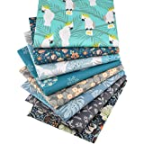 Hanjunzhao Animal Parrot Floral Fat Quarters Fabric Bundles, Quilting Fabric for Sewing Crafting, 18 x 22 inches