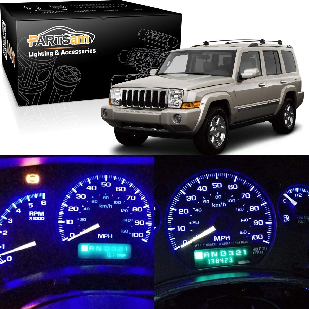 Blue Partsam Speedometer Indicator LED Light Package Instrument Panel Gauge Cluster Dashboard LED Light Bulbs Compatible with Jeep Wrangler 1997-2006