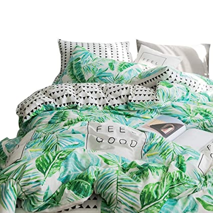 Charming Tropical Leaves Teens Bedding Comforter Cover Set Twin Cotton Reversible  Boys Bedding Sets Twin With Leaf