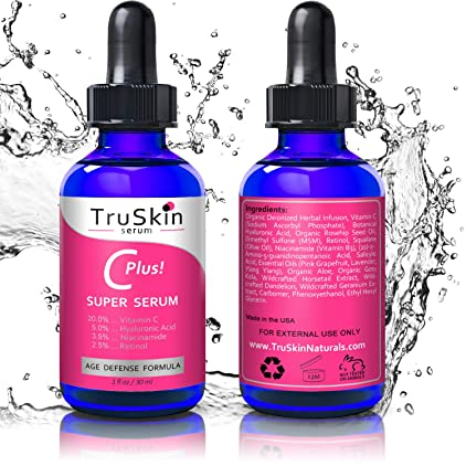 TruSkin Vitamin C-Plus Super Serum, Anti Aging Anti-Wrinkle Facial Serum with Niacinamide, Retinol, Hyaluronic Acid, and Salicylic Acid