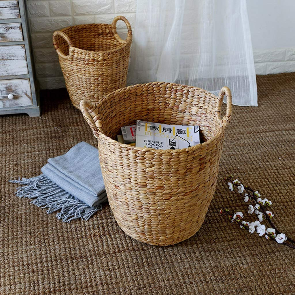 Laundry Baskets Rattan Hand Made Grass Weaving Household Dirty Hamper Clothes Sundries Indoor Storage Basket Size : 34 * 23 * 40cm