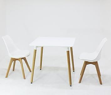 Pu0026N Homewares Lorenzo Esstisch Und 2 Stühle Set Retro Und Modernes  Skandinavisches Esszimmer Set Weiß Schwarz