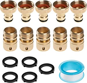 Alanfox 5 Set Garden Hose Quick Fittings Kit, Garden Hose Quick Connect, Solid Brass Fitting 3/4 Inch GHT, Male and Female Water Hose Connectors with Extra 5 Sealed O-Rings and Teflon Tape
