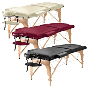 Saloniture Professional Portable Folding Massage Table with Aluminum Headrest