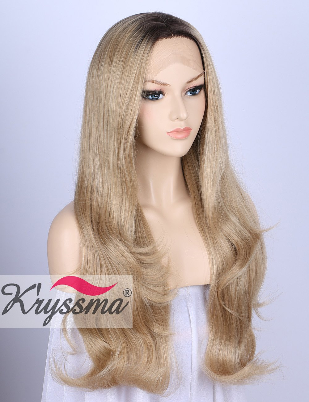 K'ryssma Ombre Blonde Synthetic Lace Front Wigs for Women Natural Looking Glueless Long Wavy 2 Tones Dark Roots to Blonde Wig Heat Resistant 24 Inches (E0204) K' ryssma