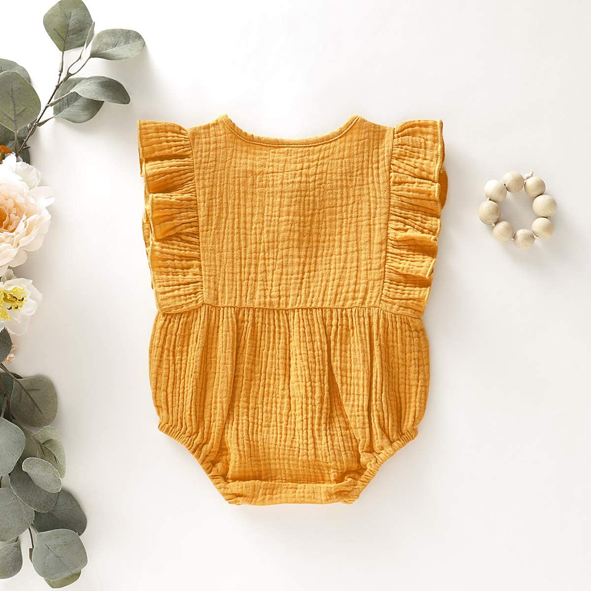 Newborn Baby Girl Cotton Linen Solid Romper Ruffle Sleeve One-Piece Bodysuit Infant Summer Outfits