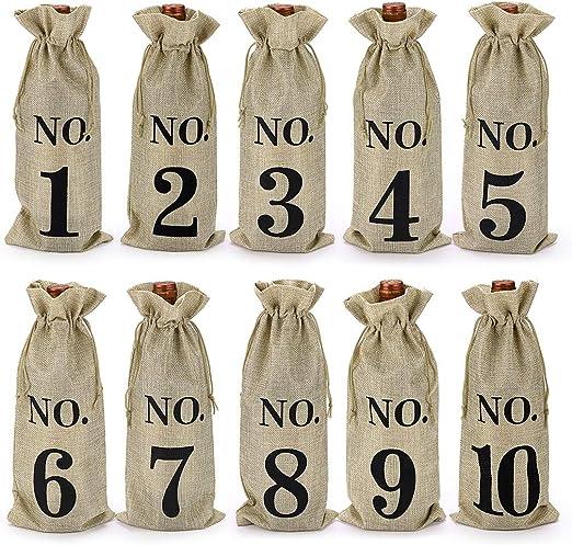 BSTKEY 10 bolsas de vino de arpillera con cordón – Bolsa de regalo ...