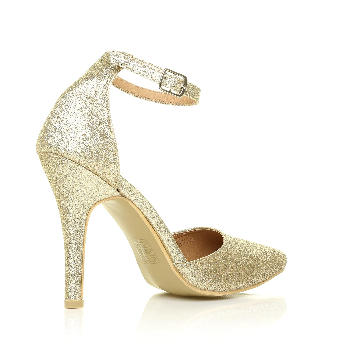 New York Champagne Gold Glitter Ankle Strap Pointed High Heel Court Shoes:  Amazon.co.uk: Shoes & Bags