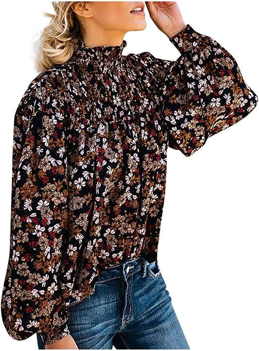 Casual Pullover para Playa,Vacaciones Blusas de Mujer Tallas Grandes Flojo Cl/ásico Fossen MuRope Camisas Mujer Manga Larga Color S/ólido Cuello en V con Bot/ón Invierno