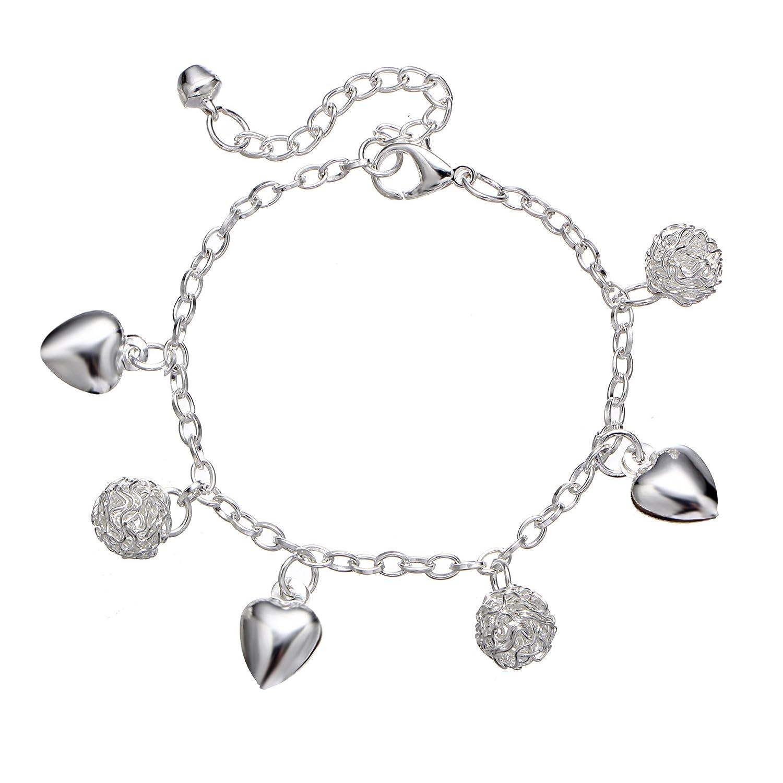 LAIMIO Anklet-Tassel Ball Heart Style Chain Anklet Adjustable Ankle Bracelets