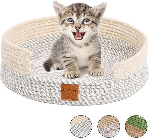 Comodo Cama Gato, Tejer a Mano Nido Gato Algodón Rascador Verano Suave Cesta Gato Redonda Oval Plano Lavable Plegable Four Seasons Universal Acogedor Cat Bed Cat Nest Cat Basket Medio (gris blanco):