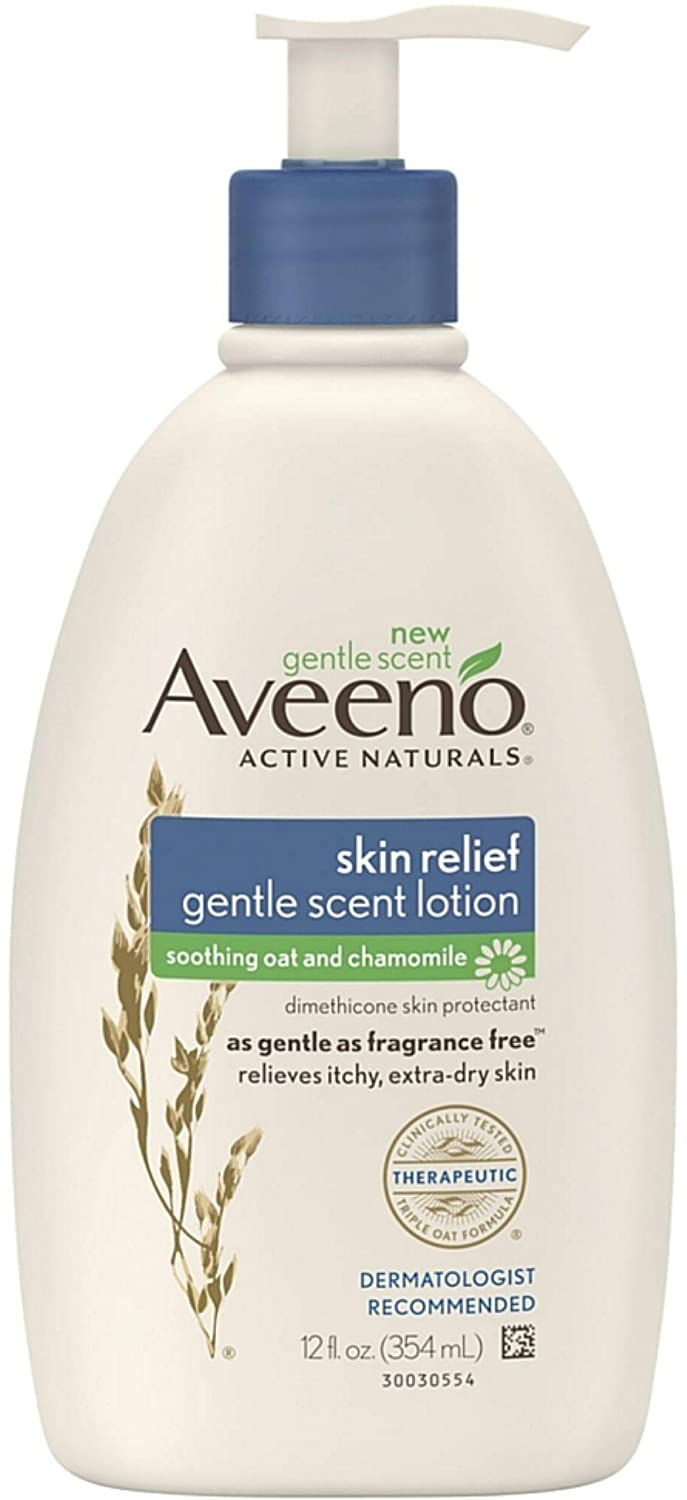 AVEENO Active Naturals Skin Relief Gentle Scent Lotion, Soothing Oat and Chamomile 12 oz (Pack of 5)