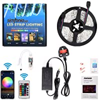 Simfonio Alexa LED Strip Lights - LED Lights Strip Compatible with Alexa, Google Home, IFTTT, WiFi Smart Phone Wireless Controller - RGB LED Light Strip 5m 5050 150Leds with Remote and UK Power Supply