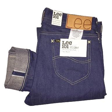 2db5b09d Lee 101 Rider Slim Fit 12.5 oz Japanese Selvedge Jeans 34W x 34L:  Amazon.co.uk: Clothing